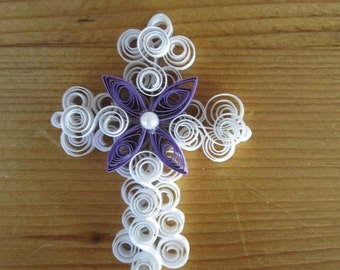 Special Order Quilled White Cross with Flower and Pearl Pin for Easter