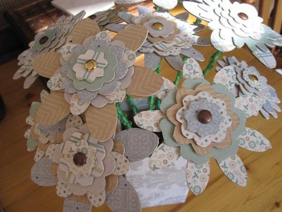Handmade Chipboard Flower Bouquet Floral Arrangement with Vase