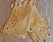 Yellow leather driving gloves, ON SALE Vintage,cute details and cutouts, amazing quality leather, super unique design, very comfortable fi