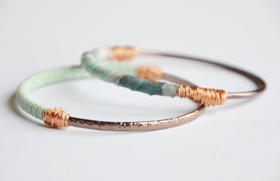 Bronze bangles set of 2. Pastel blue and blush fabric and mint suede with copper wire. Small size.