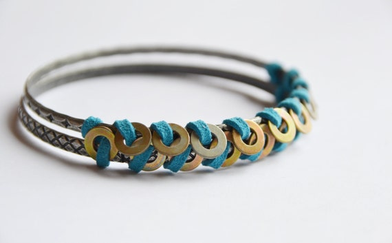Silver and suede bangle set. Cerulean turquoise blue suede, vintage nuts & bolts hand wrapped in herringbone pattern. Heavier quality weight