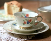 Tea Coffee Cup and Dessert Plate - 50's set by Volkstedt in Thuringia, Germany