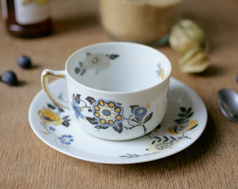 French Antique Teacup from E. Bourgeois Paris