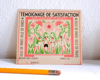 Vintage French Card for Elementary School Children by Ville de Paris