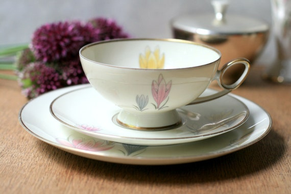 Tea Cup and Dessert Plate with Colchicum flowers Vintage from Bavaria, Germany