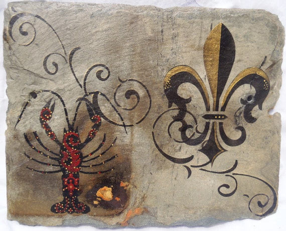 New Orleans Recycled Slate Crawfish and Fleur De Lis Wall Art