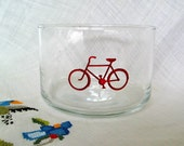 Condiment or Prep Bowl with Red Bicycle