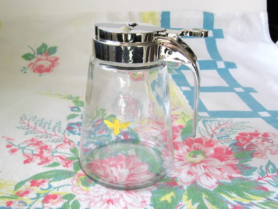 Syrup or Honey Dispenser with Yellow Honey Bee