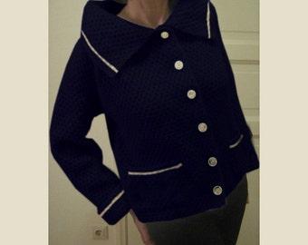 hand knitted dark blue wool jacket
