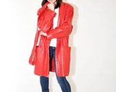 1980s RED Leather by WILSON Wrap Coat