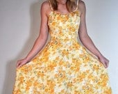 Vintage Yellow Floral Dress 50s Pockets Low Back AMAZING