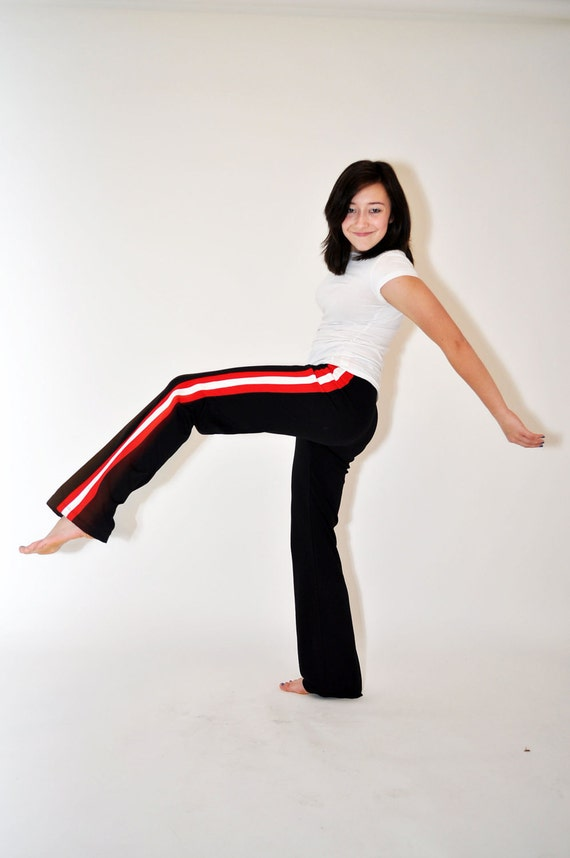 1980s Athletic Pants Solid Black Red White Striped Side Panel