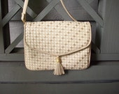 Reserved for bkanako Vintage 80s white / grey / off white woven shoulder bag / purse with tassel and gold details