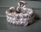Handmade Grey Ribbon Bracelet with Faux White Pearls , and Chains , and a ribbon bow (bridesmaids)