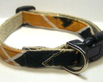 Handmade Hemp Dog Collar (mini size) - University of Missouri - Mizzou Tigers