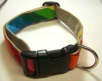 Handmade Hemp 1 inch wide Dog Collar -Rainbow-