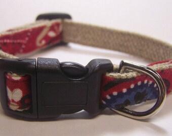 Handmade Hemp Dog Collar (mini size) -Red Bandana-