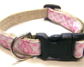 Handmade Hemp Dog Collar (mini size) -Pink Ribbon Gingham-