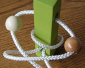 Wooden Brain Teaser - Green Wooden Puzzle - Test your wits