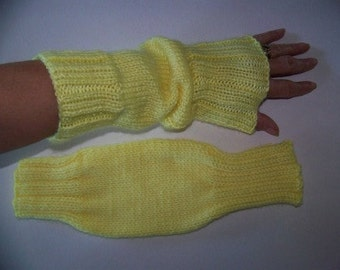Hand Knit Wrist Warmers / Fingerless Gloves / Texting Gloves Sunshine Yellow Acrylic Yarn