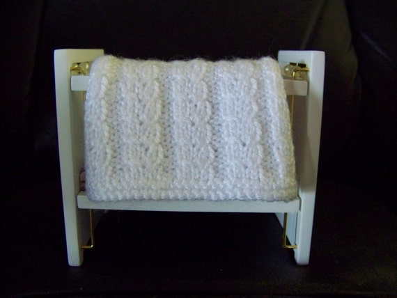 Dollhouse Miniature Handmade Baby Afghan Blanket Throw - White Cables