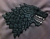 House Stark  Sigil - Embroidered Pillow Case - Game of Thrones  MADE TO ORDER