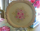 Hand Painted  Tray - Tea Party - Hand Painted Shabby Roses - Banana Yellow