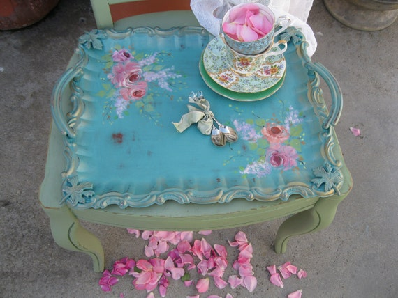 turquoise serving tray tea party tole tray. Black Bedroom Furniture Sets. Home Design Ideas