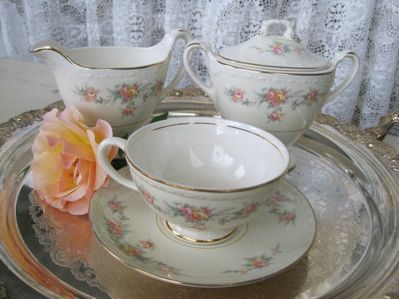 Homer Laughlin Eggshell Georgian Cream, Sugar, Tea cup Set - Tea Party - Made In USA