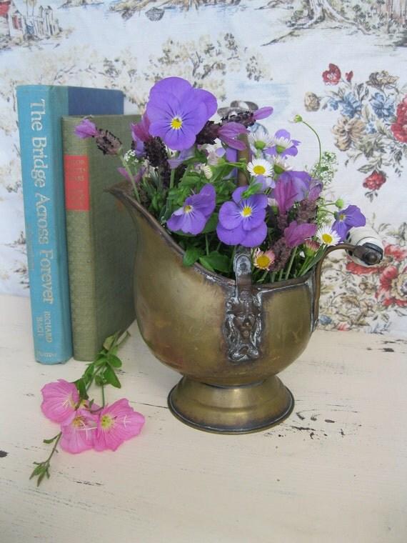 Vintage Copper and Brass Bucket - Vintage Water Jug - Delft Handle