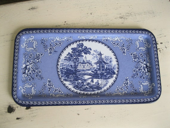 Vintage Tray - Made in England - 1970's Housewares - Blue And White - Tea Party