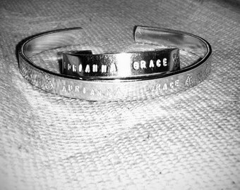 Mommy and Me Personalized Bracelet Set Matte Finish with Personalization on Inside and Outside