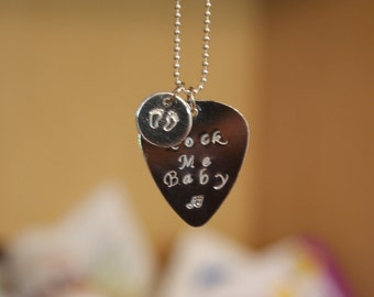 Rock Me Baby Necklace with Baby Feet Charm