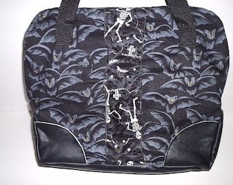 Gothic handbag inspired by bowling bag