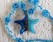 Starfish Art-Glass Pendant with  Aqua Blue Beads & Seed Bead Necklace - TheWhatNaught