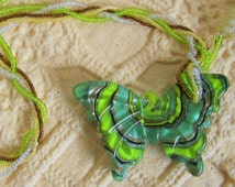 Butterfly Pendant Woven Seed Beads Necklace
