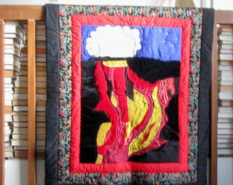 Art Quilt  Volcanic Explosion Handmade in Hawaii