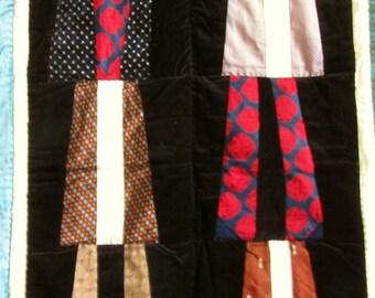 Deal of the Day! - Art Quilt - vintage Neckties - black velvet and vintage silk neckties