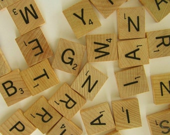 Scrabble Letters- Scrabble Tiles - Genuine  - 24 Random Selection - wood letters - grab bag - random assortment - DIY Jewelry supply