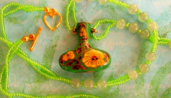 Miniature Cloisonné Vase Pendant & Lime Green Seed Beads Double Stand Necklace