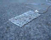 Sterling silver wire crocheted rectangular pendant FREE SHIPPING