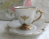 reCYCLEed vintage espresso cup and saucer with honeybee