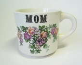 SALE! Vintage reCYCLEd cup mug with bicycle, mom and flowers