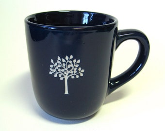 SALE reCYCLEd navy blue mug with leafy tree
