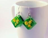 Yellow Flower Earrings, Summer Earrings, Cube Earrings, Green Resin Earrings, Real Flower Earrings, Nickel Free