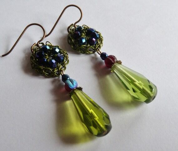 Hand Crochet  Wire Czech Glass Bead In Olivine Earrings by PrayerMonkey