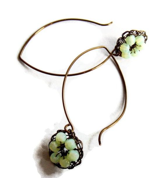Hand Crochet  Wire  Mint Czech Glass Vintage Bronze Drop Earrings