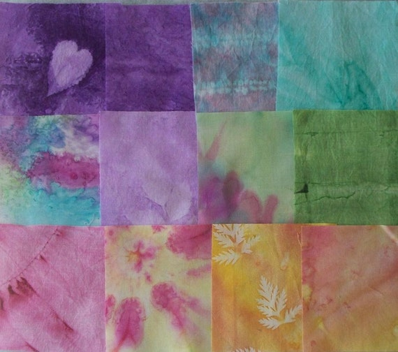 """Hand dyed fabric squares Pre-cut 4 1/2"""" x 4 1/2""""  - 12 pieces - Set 1"""