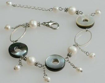 Pearl abalone shell charm bracelet Bridesmaids gifts Free US Shipping handmade Anni designs