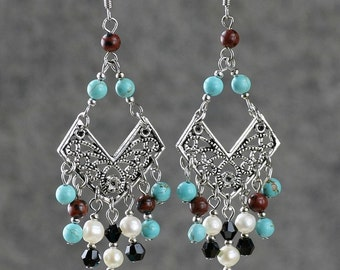 turquoise chandelier drop dangle long pearl earrings bridesmaids gifts Free US Shipping handmade Anni Designs